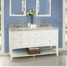 "Shaker Americana 60"" Open Shelf Double Bowl Vanity - Polar White"