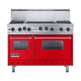"Racing Red 48"" Sealed Burner Self-Cleaning Range - VGSC (48"" wide, four burners & 24"" wide char-grill)"