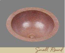 Solid Copper Small Round Lavatory - Light Hammertone Pattern - Dark