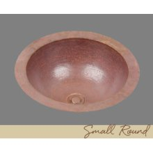 Solid Copper Small Round Lavatory - Light Hammertone Pattern - Dark