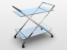 The Martini Chrome / White Glass Bar Cart