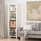Narrow 6-Shelf Bookcase with Rattan Basket - White Wash and Beige Product Image