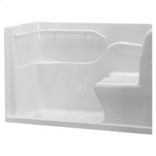 Acrylic Seated Safety Shower - White