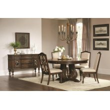 Ilana Traditional Antique Java Round Formal Five-piece Dining Table Set