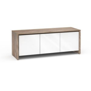 Salamander DesignsBarcelona 237, Triple-Width AV Cabinet, Natural Walnut with White Gloss Doors