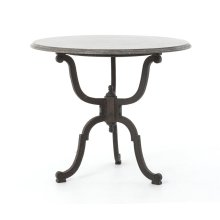 Iron Bistro Pedestal Table W/bluestone T