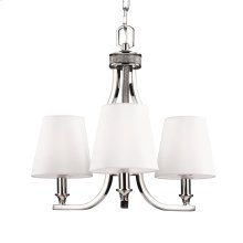 3 - Light Crystal Inlay Chandelier Polished Nickel