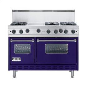 """Cobalt Blue 48"""" Open Burner Commercial Depth Range - VGRC (48"""" wide, six burners 12"""" wide griddle/simmer plate)"""