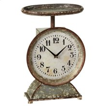 Distressed White Decorative Scale Desk Clock.
