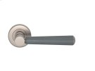 Tube Stitch Incombination Leather Door Lever In Slate Grey And Satin Nickel Product Image