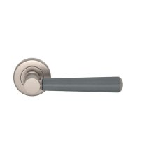 Tube Stitch Incombination Leather Door Lever In Slate Grey And Satin Nickel