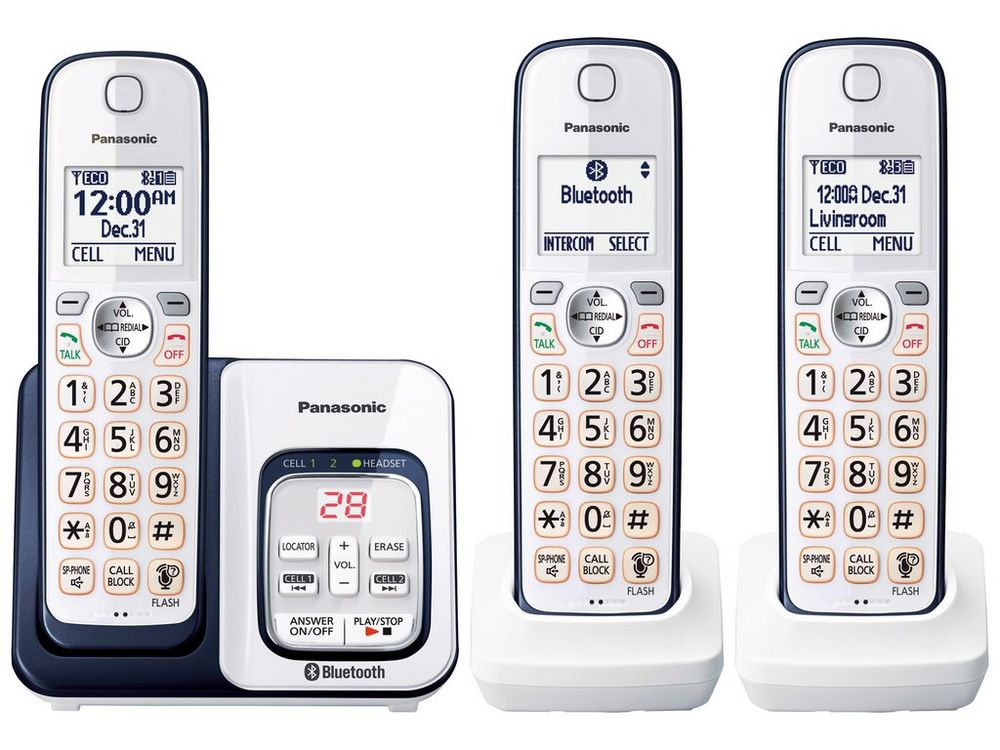 Link2Cell Bluetooth(R) Cordless Phone with Voice Assist and Answering Machine - 3 Handsets - KX-TGD563A  NAVY BLUE
