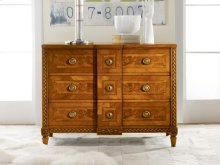 Continental Commode, Walnut Veneer W/ Inlay. Hand Carved Detailing. Solid Brass Antique Hardware.