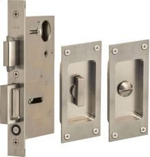 Pocket Door Lock with Modern Rectangular Trim featuring Turnpiece and Emergency Release