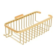 """Wire Basket 10-3/8"""", Deep, Rectangular with Hook - PVD Polished Brass"""