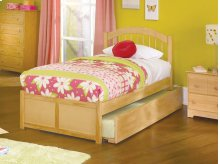 Windsor Twin Flat Panel Foot Board with Raised Panel Trundle Natural