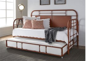 Twin Metal Day Bed w Trundle - Orange