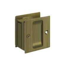 "Pocket Lock, 2 1/2""x 2 3/4"" Passage - Antique Brass"