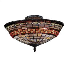 Jewelstone 3-Light Semi Flush in Classic Bronze with Tiffany Style Glass