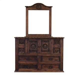"""Dresser : 65"""" x 21"""" x 45"""" Medio Country Bed with Rope and Star Dresser"""