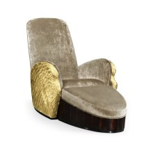 Gilded Angel Wing Chair with Ottoman, Upholstered in COM