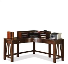 Castlewood Curved Corner Desk Hutch Warm Tobacco finish