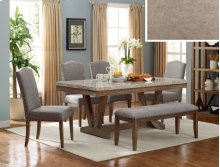 Vesper Marble Rect Table, 4 Chairs & Bench