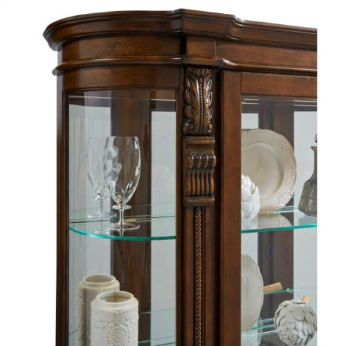 Lighted Curved Front 4 Shelf Curio Cabinet in Maple Brown