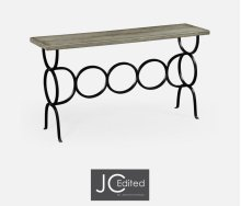 Rustic Grey Console with Circular Wrought Iron Base
