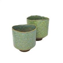 "S/2 Ceramic Planters 8""/6.5"" , Sage Green"