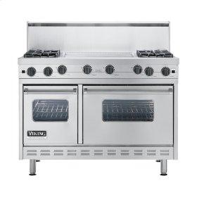"Stainless Steel 48"" Open Burner Commercial Depth Range - VGRC (48"" wide, four burners 24"" wide griddle/simmer plate)"