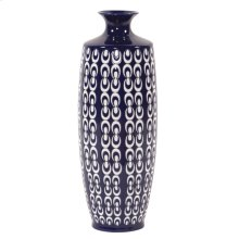 Navy Blue and White Textured Ceramic Vase, Large