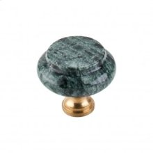 Green Marble Granite Knob 1 3/8 Inch - Brass