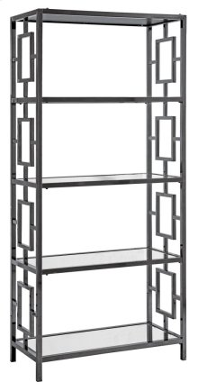 Midnight Black Nickel Metal and Mirror Etagere