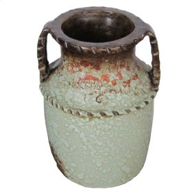 """Textured Turquoise """"2 Handles Roped Jar"""" S"""