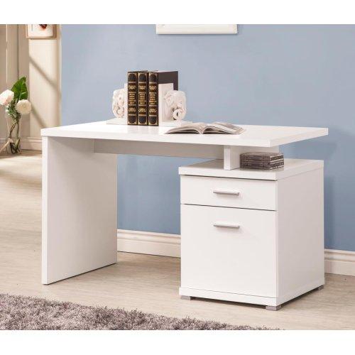 Contemporary White Executive Desk
