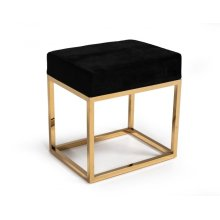 Modrest Downey Modern Black Velvet & Gold Stool Ottoman