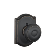 Georgian Knob with Camelot trim Non-turning Lock - Aged Bronze