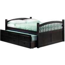 York Java Full Captain's Bed w/ Trundle, 3 Storage Drawers & Antique Brass Knobs