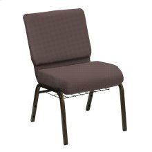 Wellington Westham Upholstered Church Chair with Book Basket - Gold Vein Frame