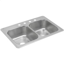 """Dayton Stainless Steel 33"""" x 22"""" x 8-3/16"""", Equal Double Bowl Drop-in Sink"""
