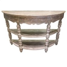 Bengal Manor Mango Wood Turned Leg Demilune Console Table