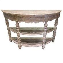 Bengal Manor Mango Wood Turned Leg Demilune Console Table