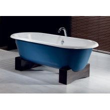 REGAL Cast Iron Bath with Wooden Base With Flat Area for Faucet Holes