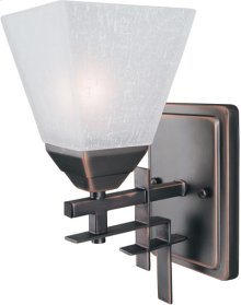 Wall Lamp, Dark Bronze W/frost Glass Shade,type A 60w