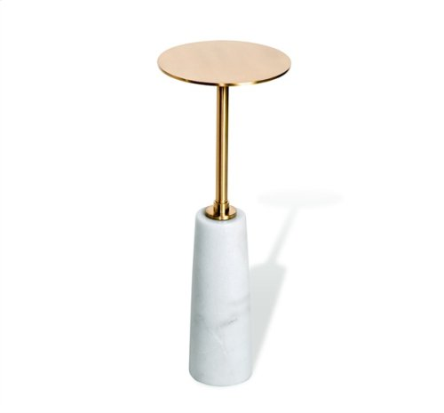 Beck Round Drink Table - White/ Antique Brass