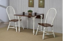 Sunset Trading 3 Piece Drop Leaf Dining Set in Antique White with Chestnut Top with Windsor Spindleback Chairs