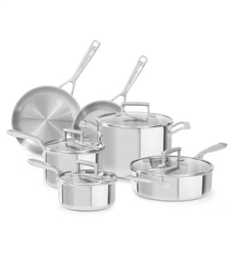 KitchenAid Tri-Ply Stainless Steel 10-Piece Set - Stainless Steel Finish
