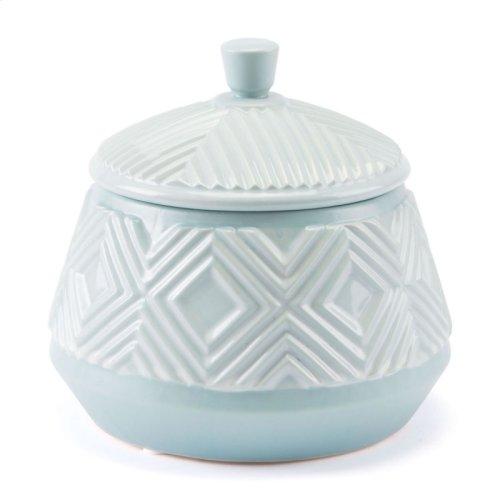 Herringbone Lid Jar Blue