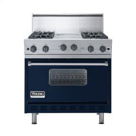 """Viking Blue 36"""" Open Burner Commercial Depth Range - VGRC (36"""" wide, four burners 12"""" wide griddle/simmer plate)"""